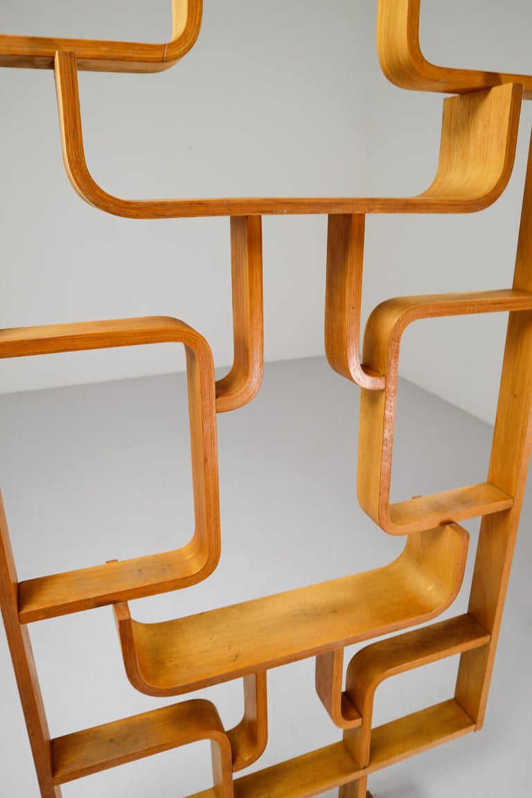 Tall Midcentury Room Divider in Blond Bentwood, Czech Republic, 1960s For Sale 1