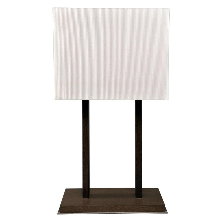 Tall Midcentury Walnut Base Lamp with Tightly Pleated Shade For Sale