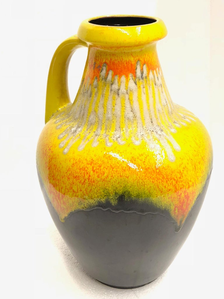 Tall Midcentury West German Pottery Yellow Brown Floor Vase Lava Glaze By Bay For Sale At 1stdibs
