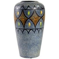 D\u00fcmler /& Breiden Mid Century X Tall White Blue Yellow Fat Lava West German Vase