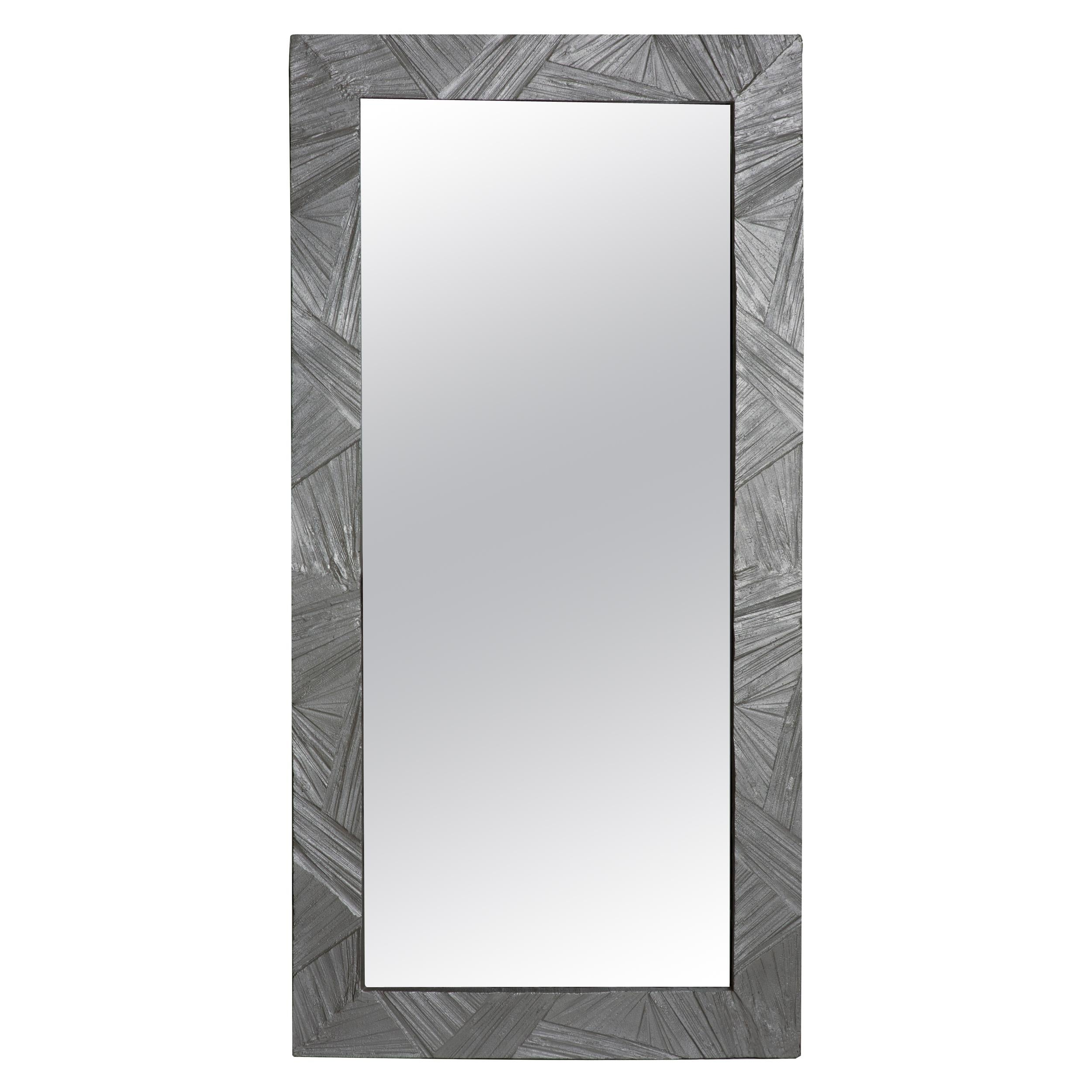 Tall Mirror Mirror with Brulalist Textured Frame, Solace