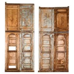 Tall Moroccan Pine Doors with Judas Gates, 20th Century