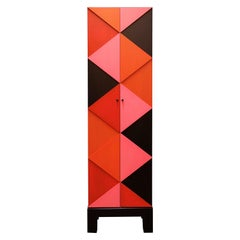 Tall Multicolored Graphic Diamond Mahogany Two-Door Cabinet by Dave Lasker