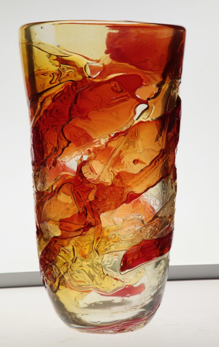 Tall Murano Vase with Hot Glass Colors Applied in the Manner of Gae Aulenti For Sale 11