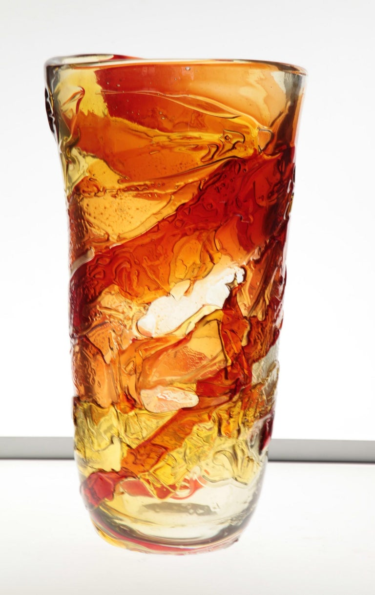 20th Century Tall Murano Vase with Hot Glass Colors Applied in the Manner of Gae Aulenti For Sale