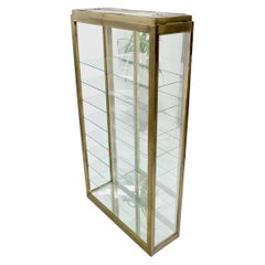 Tall Narrow Brass Finish Adjustable Glass Shelves Unit Bookcase Storage