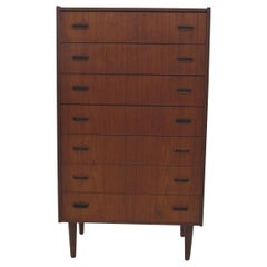 Tall and Narrow Danish Teak Dresser