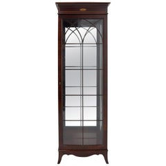 Tall Narrow Federal Style Mahogany Vitrine Curio Cabinet Book Case Glass Shelves