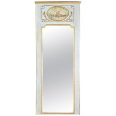 Tall Narrow French Painted 19th Century Trumeau Mirror