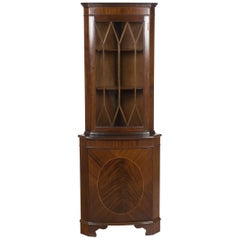 Tall Narrow Mahogany and Glass Corner Cabinet Cupboard Display Hutch