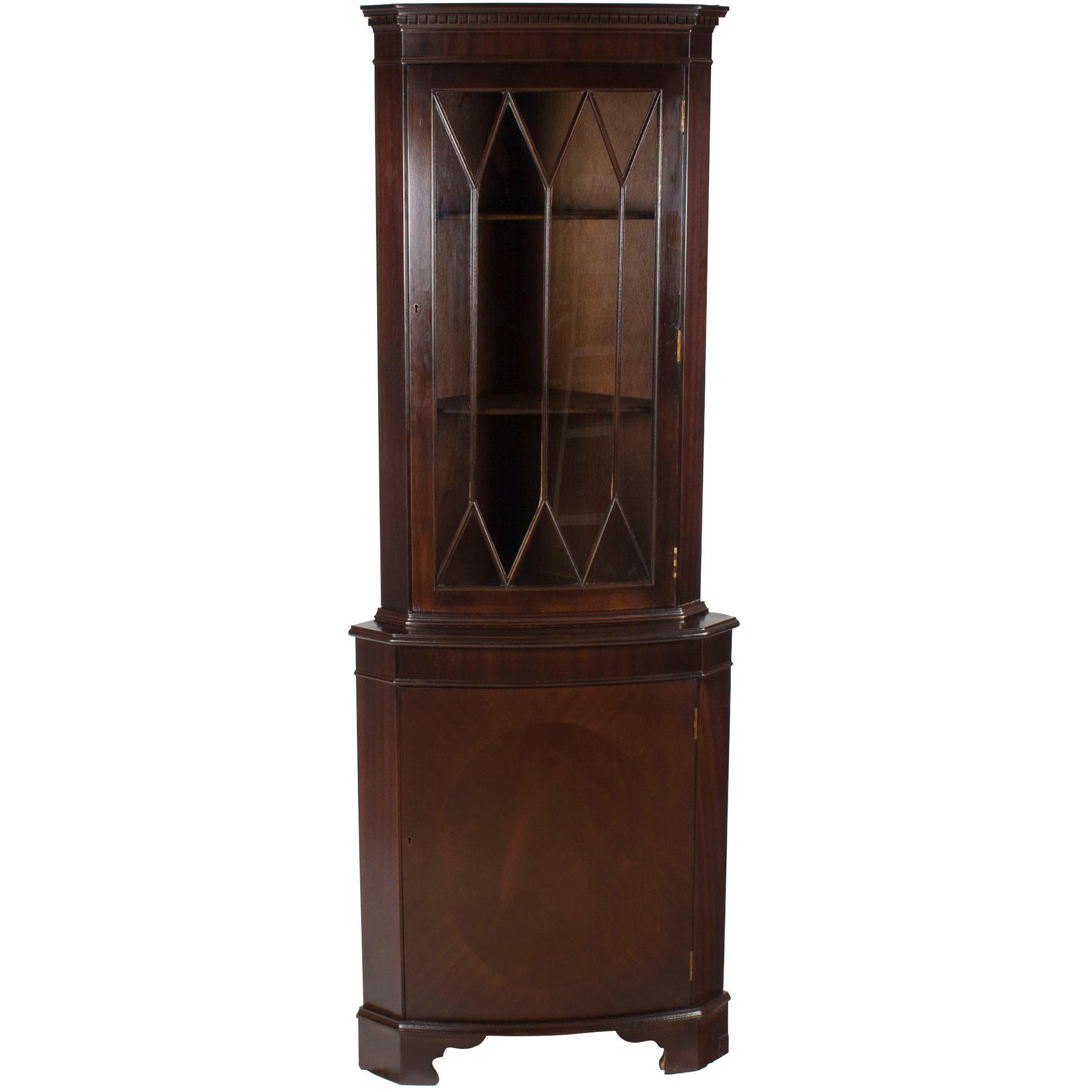 Attirant Tall Narrow Mahogany Single Door Corner Cabinet Cupboard