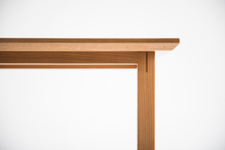 Tall Narrow Modern Cherry Westport Pub Table with Splined Miters and Trestle For Sale 2