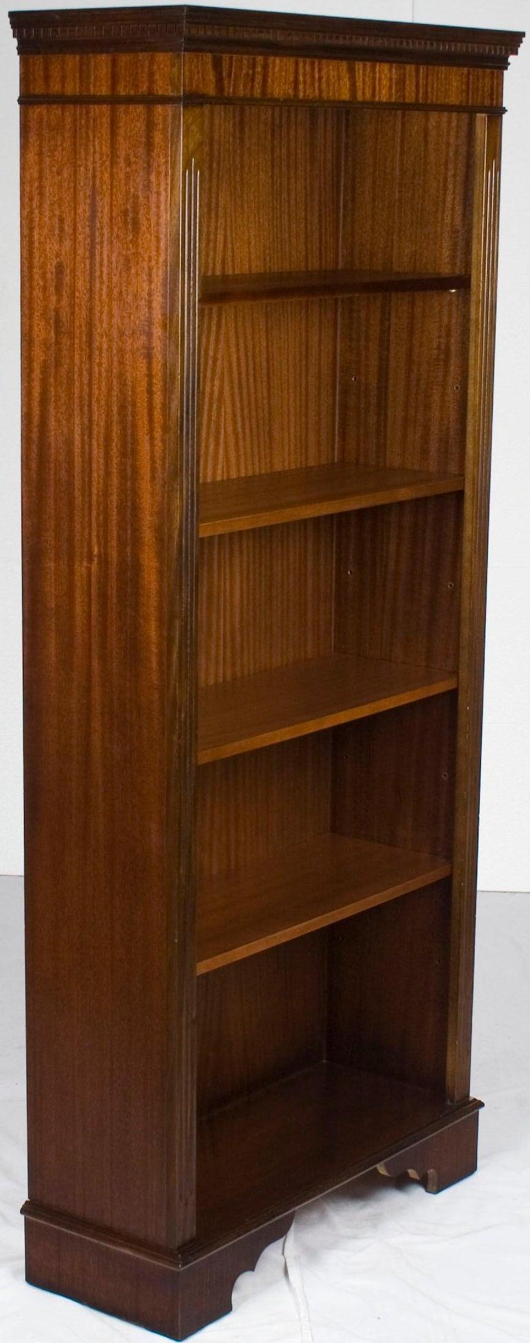 Tall Narrow Open Adjustable Mahogany Bookcase Bookshelf ...