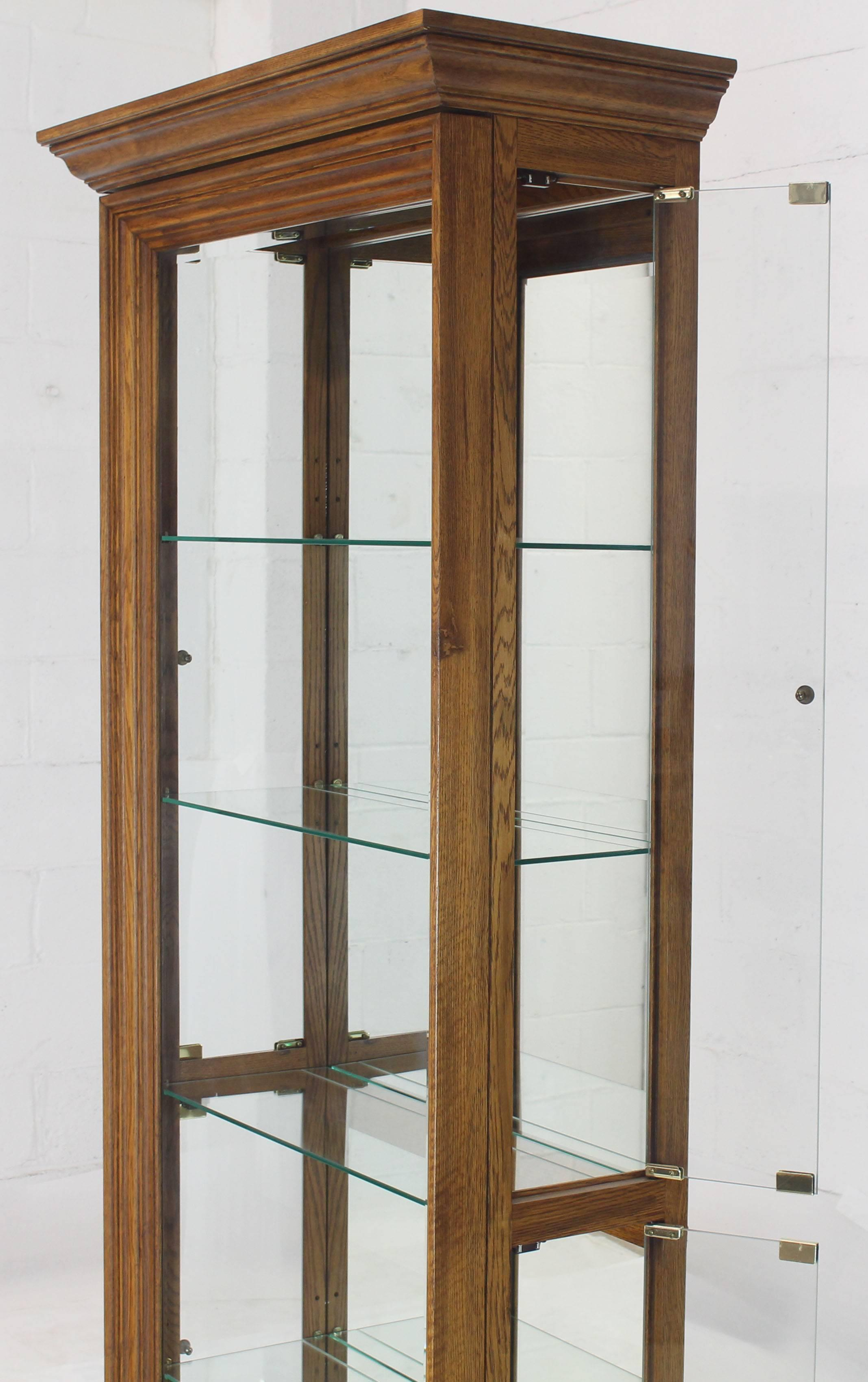 Tall Narrow Side Doors Beveled Glass Oak Curio Display Cabinet For Sale At 1stdibs