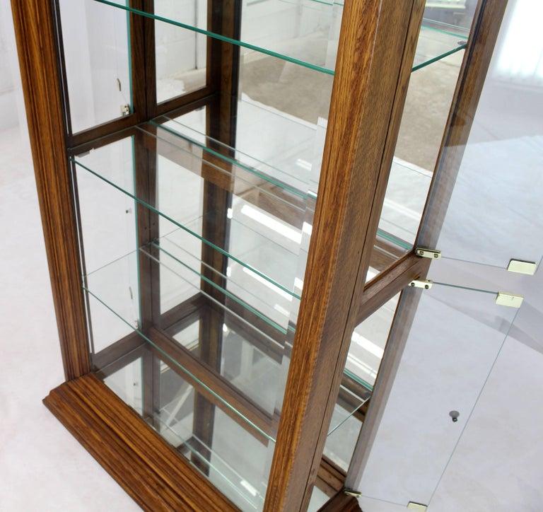 Tall Narrow Side Doors Beveled Glass Oak Curio Display