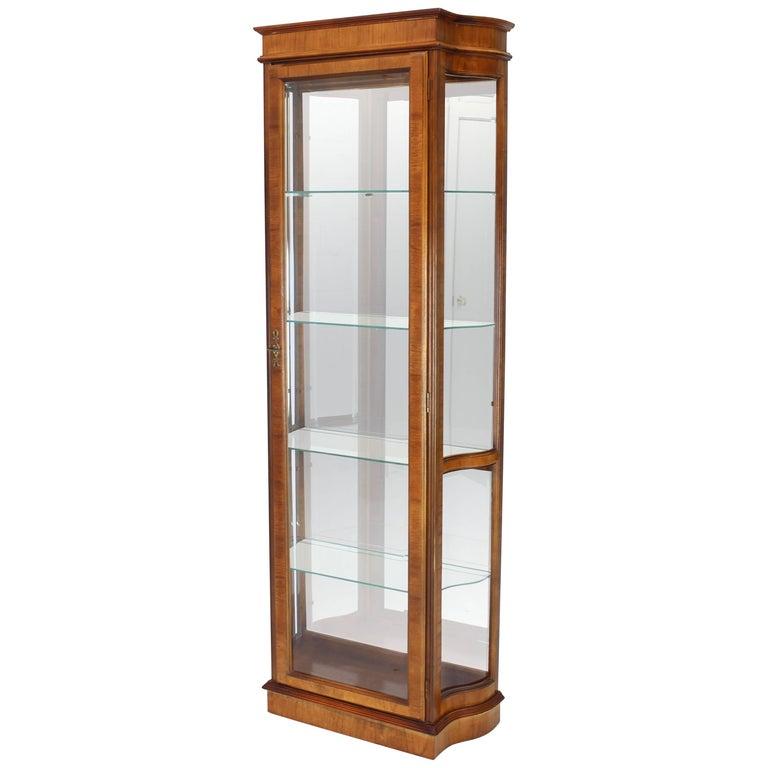 Tall Narrow Walnut And Mahogany Curved Gl Curio Cabinet For