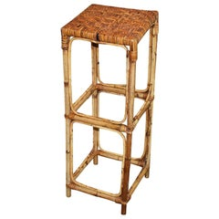 Tall Natural Woven Rattan and Bamboo Plant Stand or Side Table