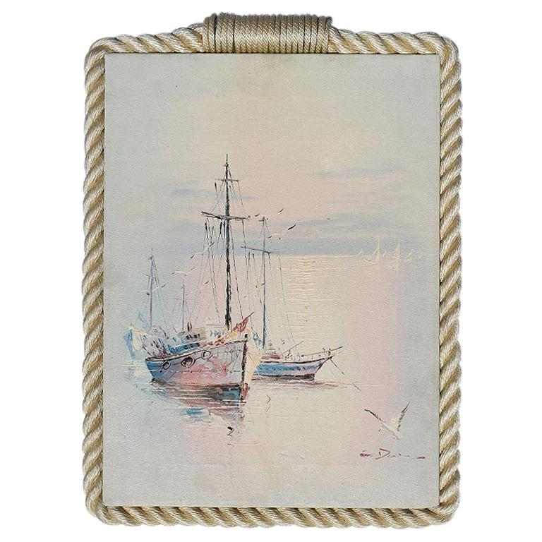 Tall Nautical Sailboat Painting with Rope Frame, Signed