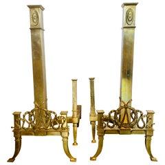 Tall Neoclassical Brass Ornate Column Form Andirons