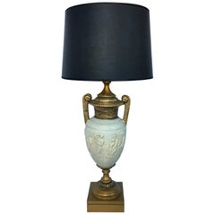 Tall Neoclassical Style Figure Handled Urn Table Lamp