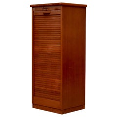 Tall Oak Eeka File Cabinet with Tambourd Door and Record Storage