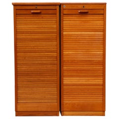 Tall Oak Eeka File Cabinet with Tambourd Door