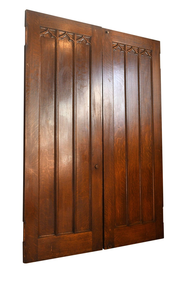 Tall Oak Gothic Double Swinging Doors For Sale 2