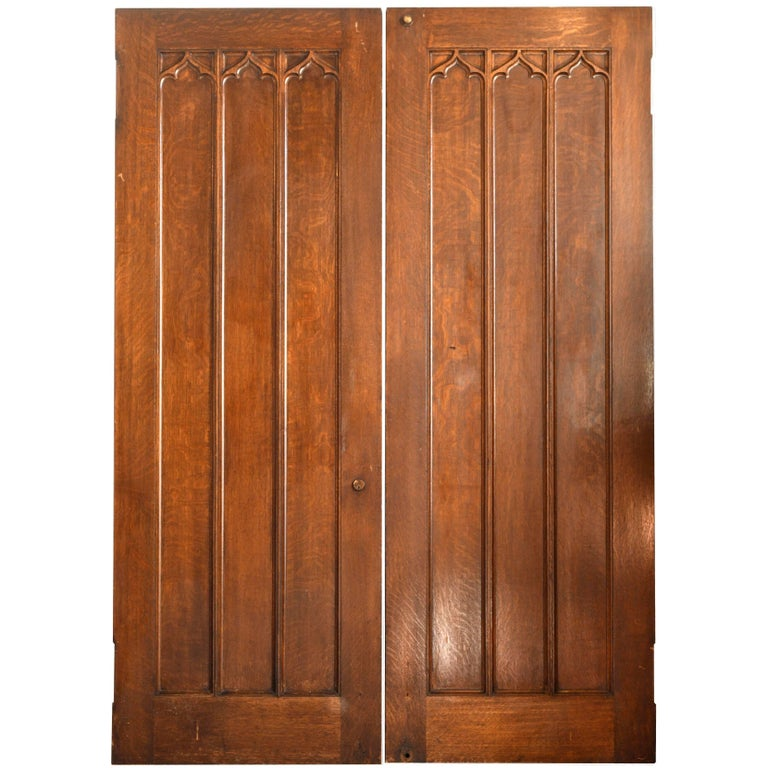Tall Oak Gothic Double Swinging Doors For Sale