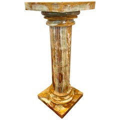 Tall Onyx Column Pedestal Table Stand