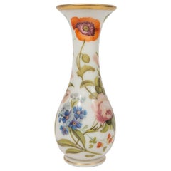 Tall Opaline Vase Hand Painted with Flowers, France, circa 1840