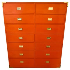 Tall Orange Campaign Chest Highboy Twelve Drawers Wardrobe Gentlemen's Dresser