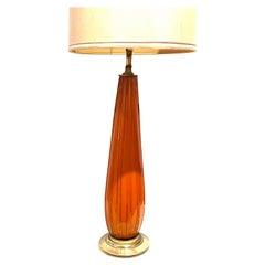 Tall Orange Murano Barovier Italian Glass Table Lamp