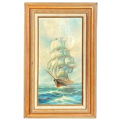 Tall Original Sailing Ship at Sea Painting by Haydan Signed in Giltwood Framed