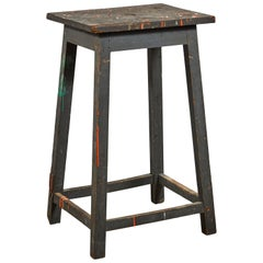 Tall Painted Wooden Sculpture Table