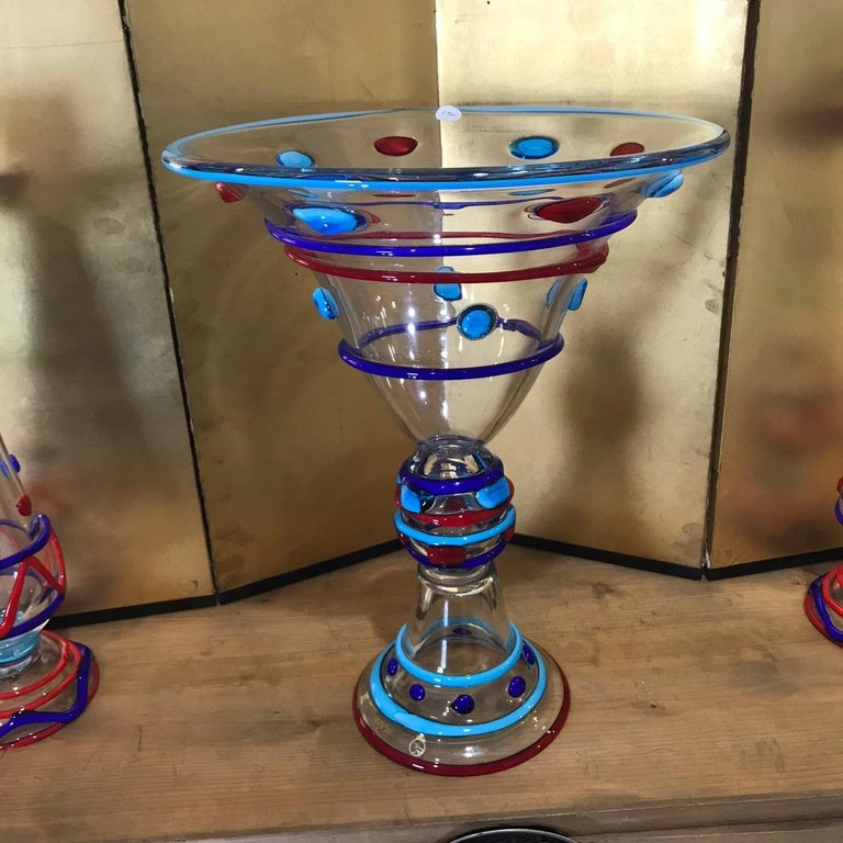 Tall Pair Masterwork Hand Blown Colorful Glass Candle holders, 18
