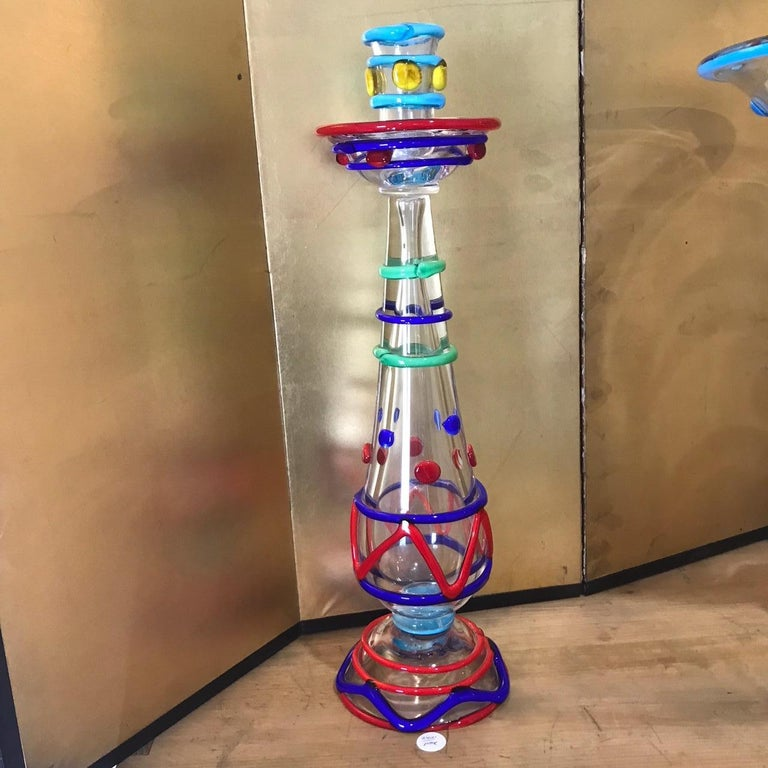 20th Century Tall Pair Masterwork Hand Blown Colorful Glass Candle holders, 18