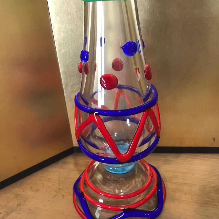 Blown Glass Tall Pair Masterwork Hand Blown Colorful Glass Candle holders, 18