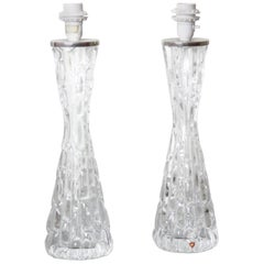 Tall Pair of 1970s Clear Crystal Orrefors Lamps, 1970