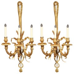Tall Pair of 19th Century French Louis XVI Bronze Dore Three-Light Sconces
