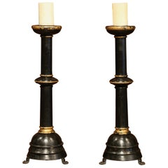 Tall Pair of 19th Century Italian Carved Blackened Candlesticks on Paw Feet