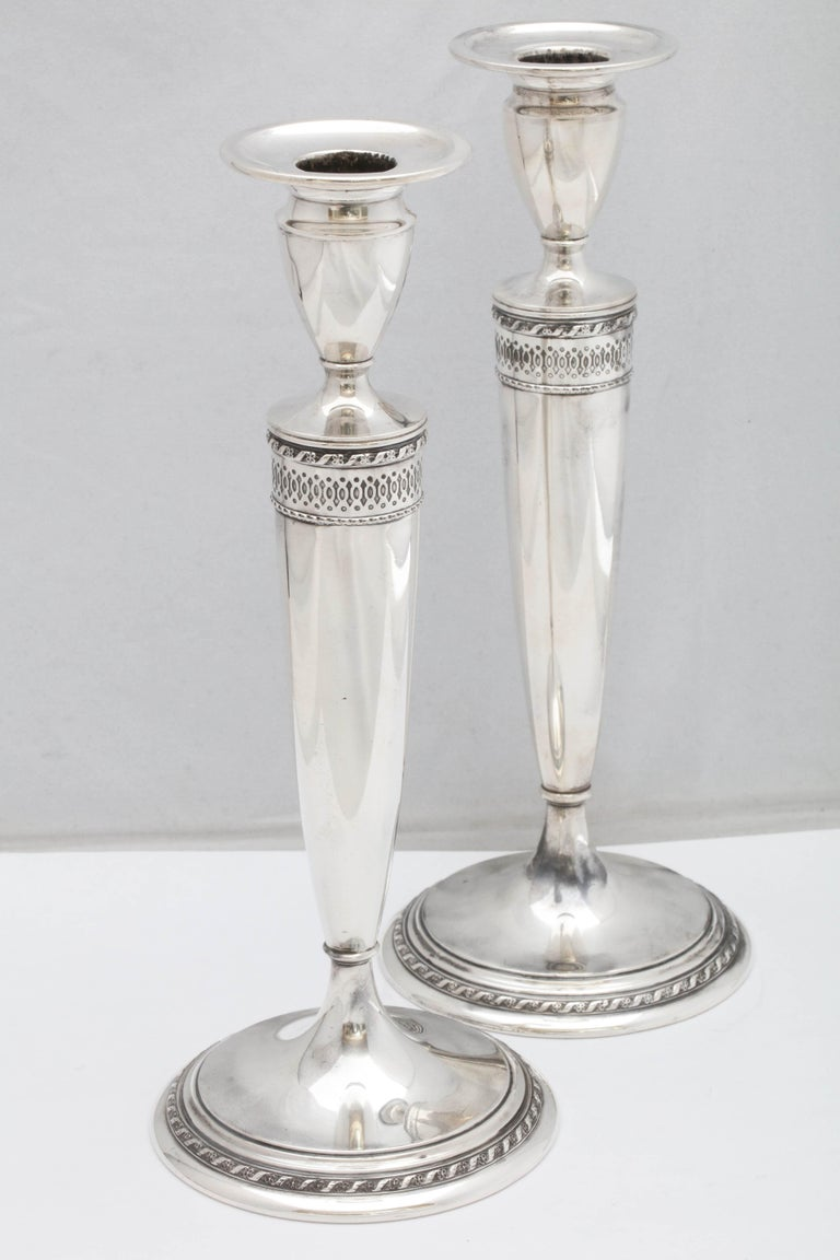 Early 20th Century Tall Pair of Art Deco Sterling Silver Candlesticks For Sale