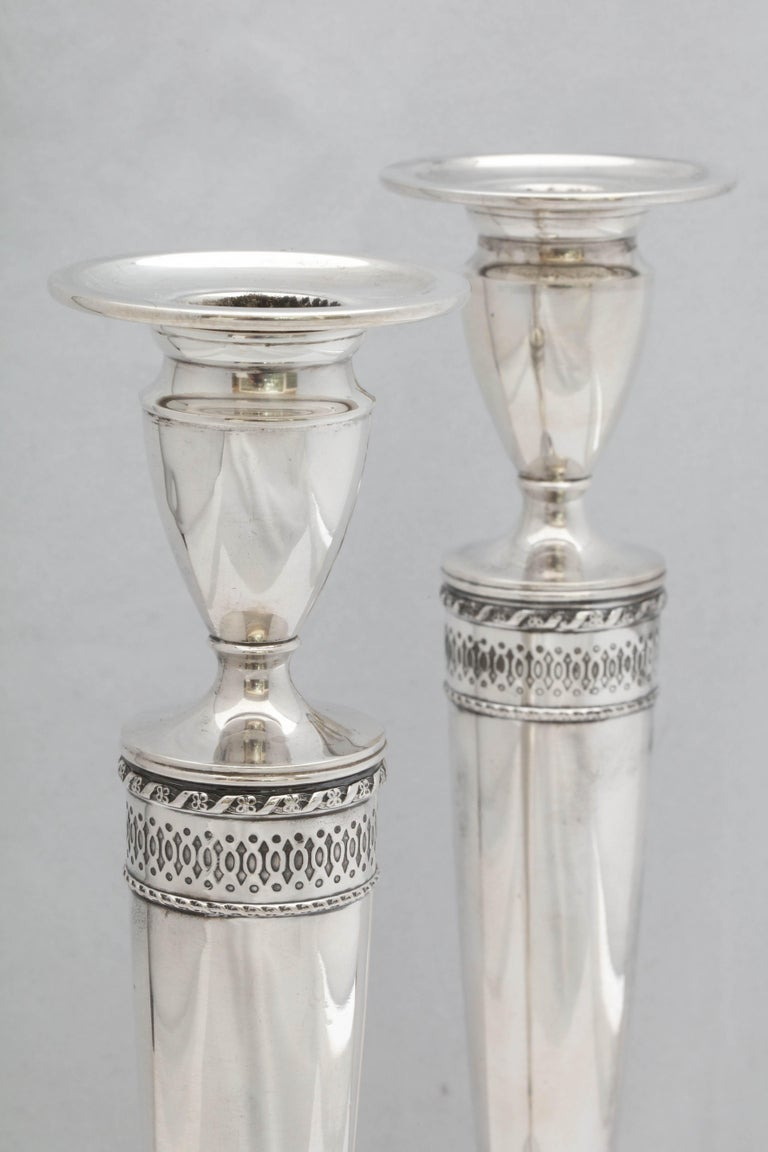 Tall Pair of Art Deco Sterling Silver Candlesticks For Sale 1