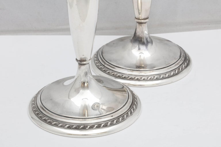 Tall Pair of Art Deco Sterling Silver Candlesticks For Sale 2