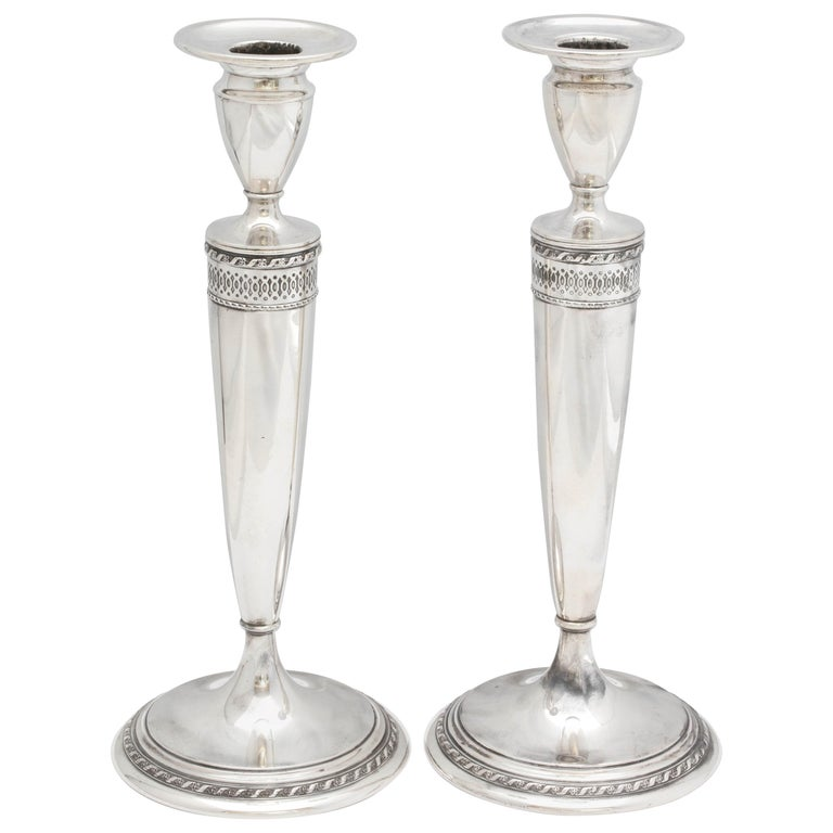 Tall Pair of Art Deco Sterling Silver Candlesticks For Sale