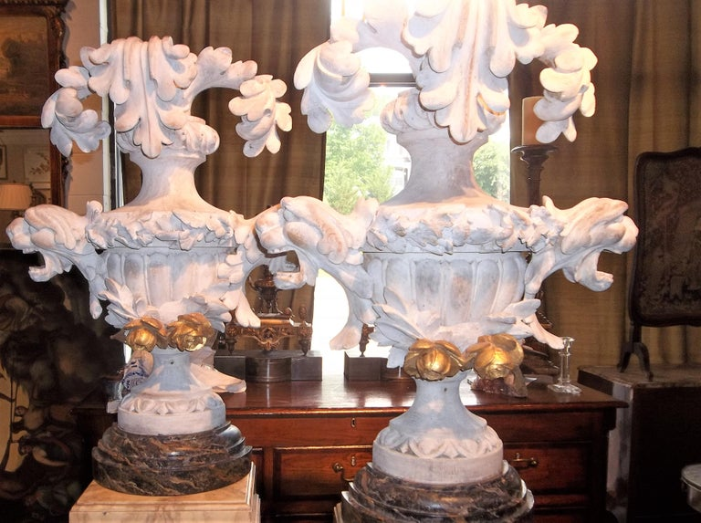 Tall Pair of Carved Floral and Foliate Architectural Fragments or Appliques For Sale 5