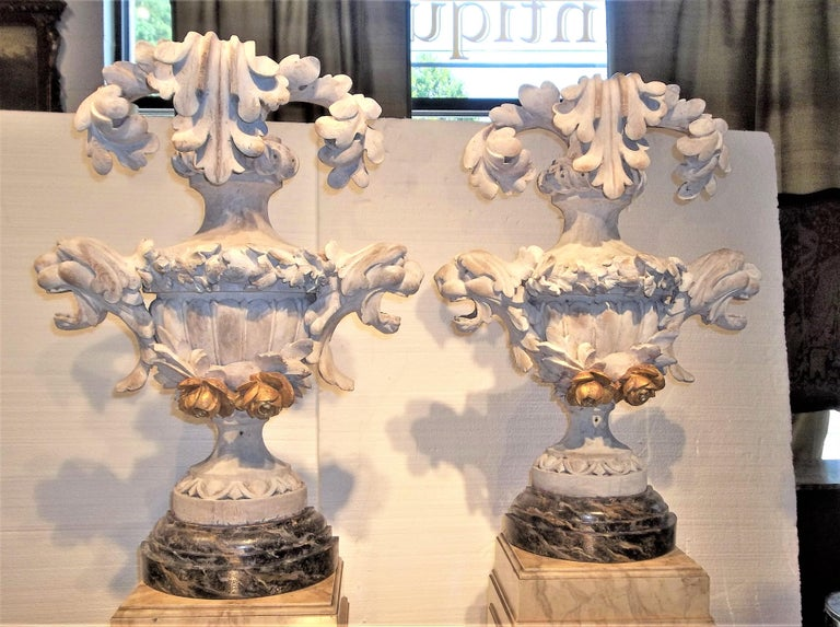 Tall Pair of Carved Floral and Foliate Architectural Fragments or Appliques For Sale 7