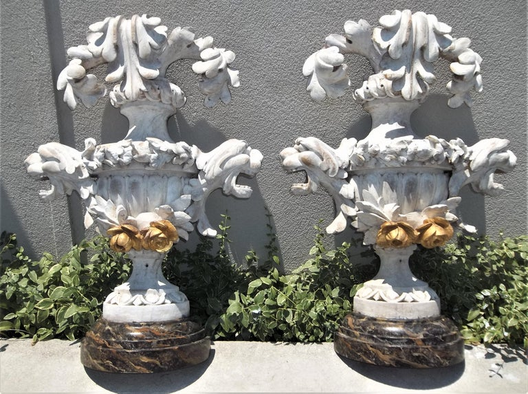 Baroque Tall Pair of Carved Floral and Foliate Architectural Fragments or Appliques For Sale