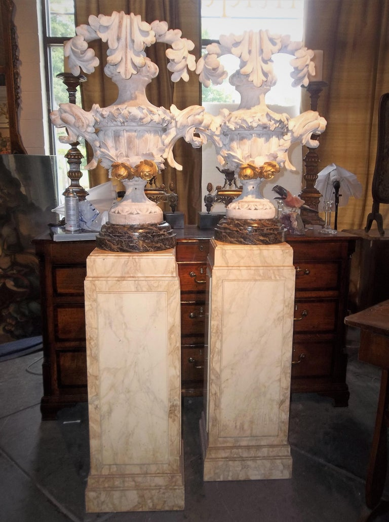 Italian Tall Pair of Carved Floral and Foliate Architectural Fragments or Appliques For Sale