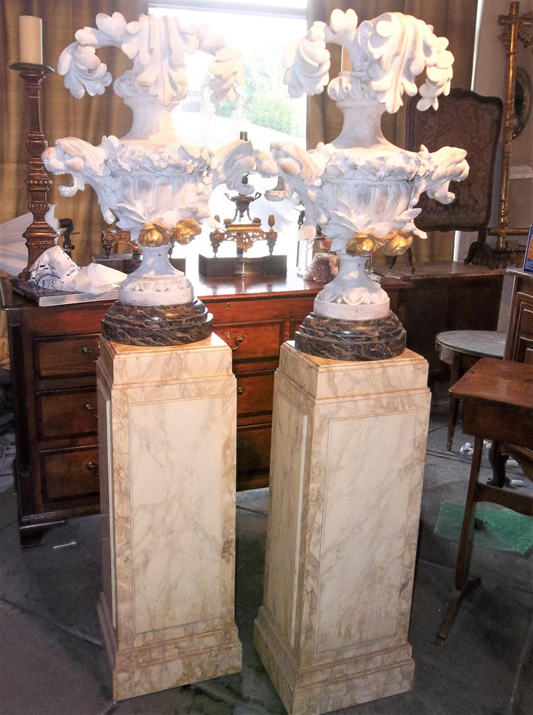 Tall Pair of Carved Floral and Foliate Architectural Fragments or Appliques In Fair Condition For Sale In Nashville, TN