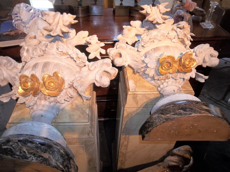 Tall Pair of Carved Floral and Foliate Architectural Fragments or Appliques For Sale 2